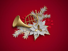 3d Render, Christmas Floral Decoration, French Horn, Musical Instrument, Poinsettia Flower, Flat Paper Craft Clip Art Isolated On Red Background