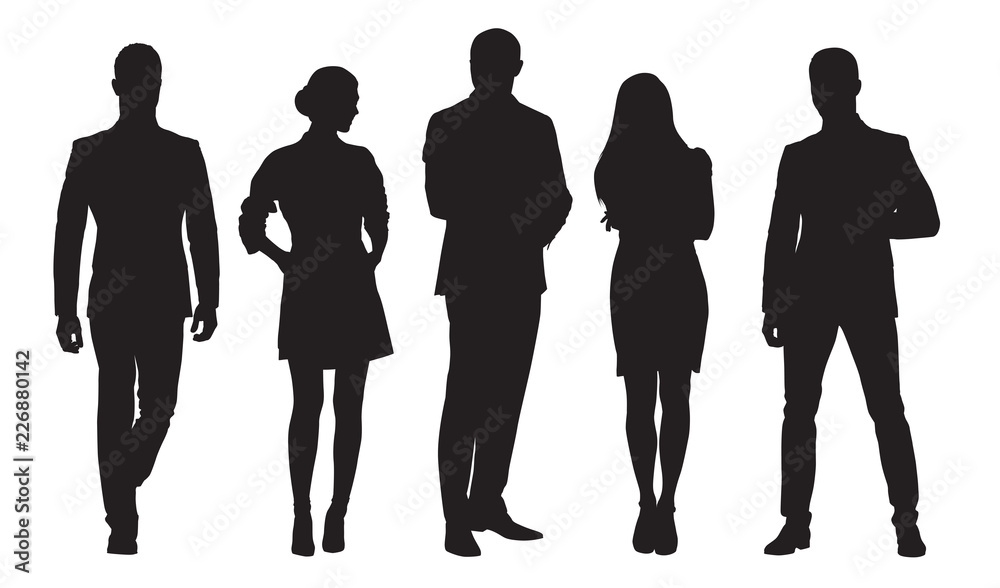 Fototapety, obrazy: Business men and women, group of people at work. Isolated vector silhouettes