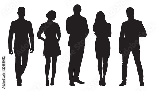 Obraz Business men and women, group of people at work. Isolated vector silhouettes - fototapety do salonu