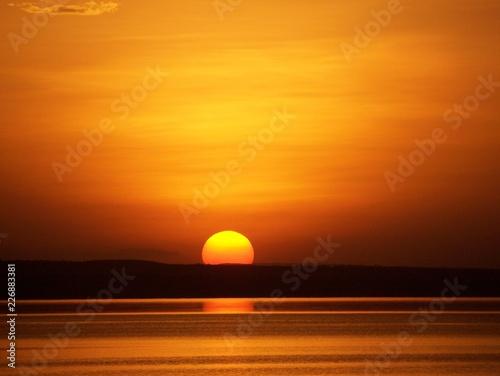 Garden Poster Brown Sunset over Lake Langano, Ethiopia