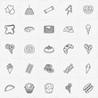 Bakery line icon set with chocolate candy, cake and hot dog