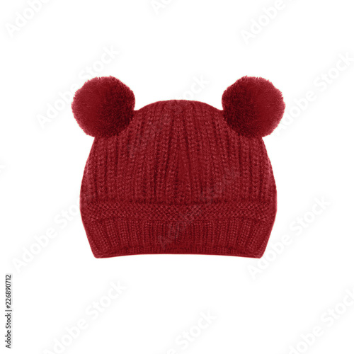 Red Knitted Baby Hat With Funny Ears Bear Isolated On White