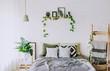 Leinwanddruck Bild - bedroom interior rustic loft bed blankets decor