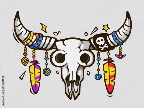 Papiers peints Crâne aquarelle Boho chic. Ethnic tattoo style. Native american or mexican bull skull with feathers on horns. Vector illustration