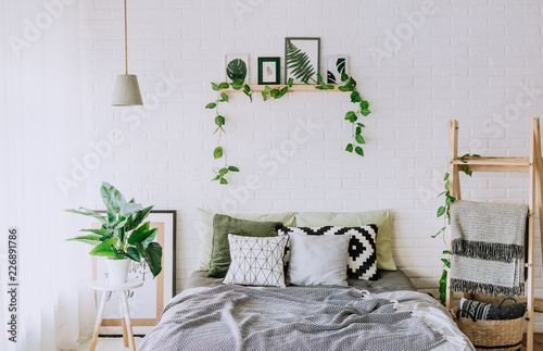 bedroom interior rustic loft bed blankets decor