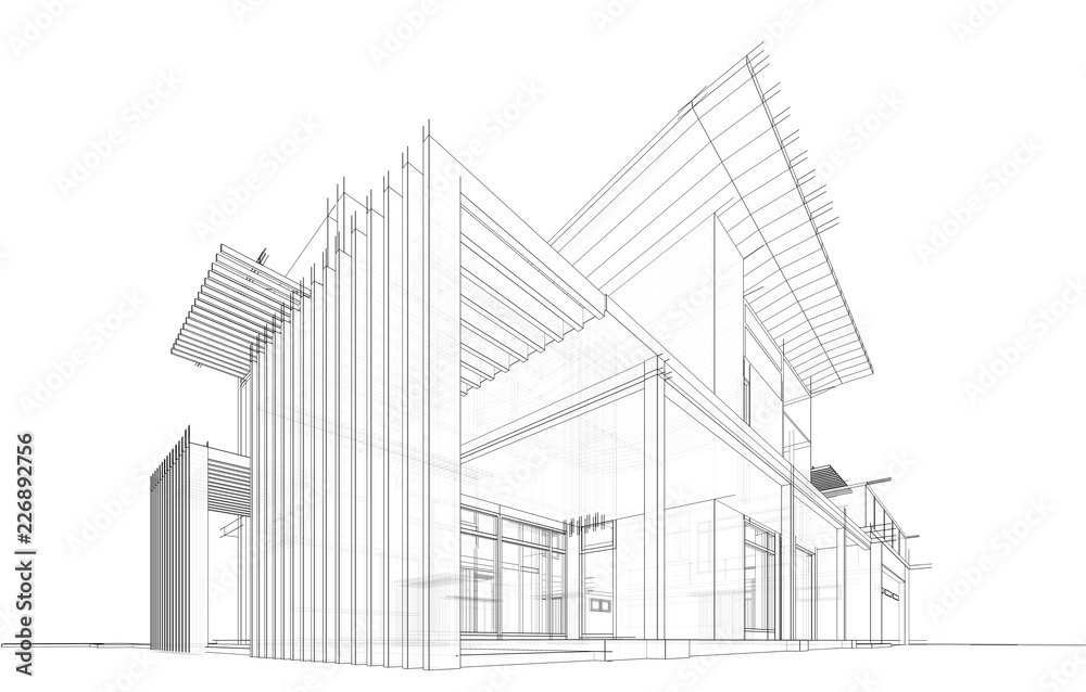 Fototapety, obrazy: modern house building architecture 3d illustration
