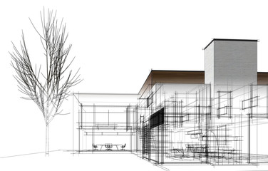 modern house building architecture 3d illustration
