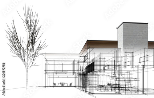 modern house building architecture 3d illustration - fototapety na wymiar
