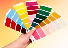 Bright Palette Of Colors On Wooden Background