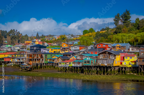Houses on stilts palafitos in Castro, Chiloe Island, Patagonia Canvas Print
