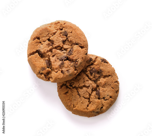 Staande foto Koekjes Chocolate chip cookie on white background.top view