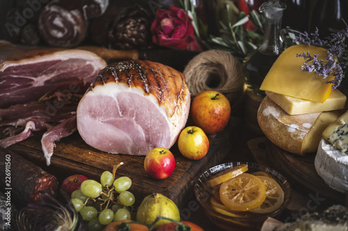 Honey roasted ham food photography recipe idea