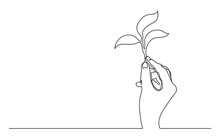 Continuous Line Drawing Of Hand Holding Growing Plant