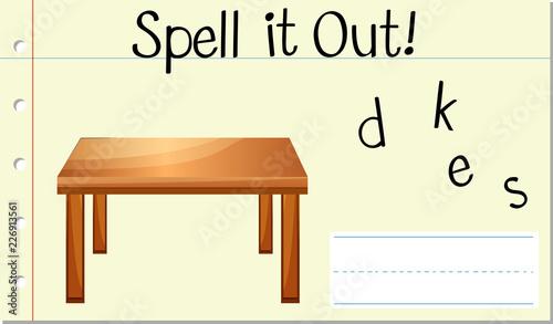 Canvas Print Spell English word desk
