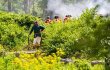 British American Revolutionary War Reenacters Fire Their Guns