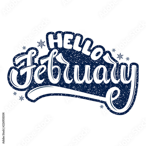 Hello February  Name of the month  Handwritten Lettering