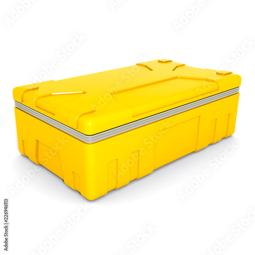 Yellow metal case isolated on white background. 3D render Canvas Print