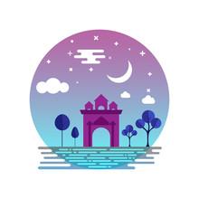Patuxai Monument At Night