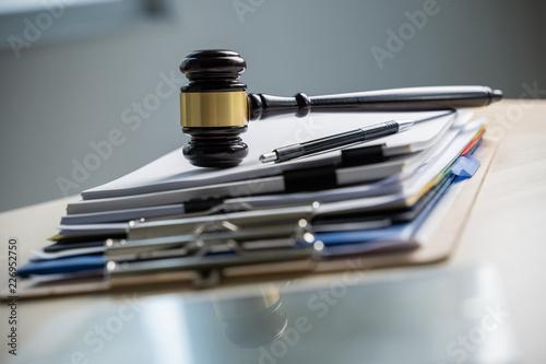 Fotografie, Obraz Judge and documents on office desk Legislation