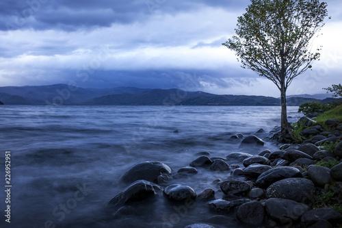 Foto op Plexiglas Asia land morning light of lake toya hokkaido one of most popular traveling destination in hokkaido japan