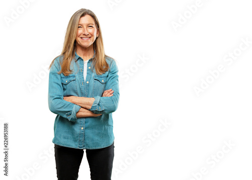 Fototapeta  senior beautiful woman with a proud, satisfied and happy look on face, smiling w