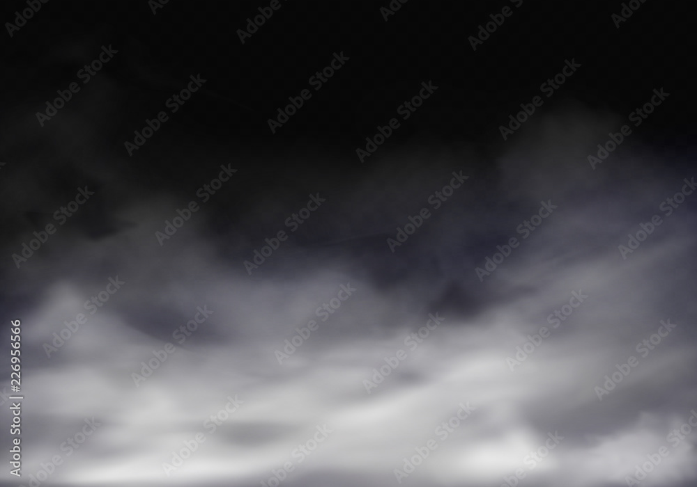Fototapeta Vector 3d realistic illustration of fog, grey mist or cigarette smoke. Translucent smog isolated on transparent background. The special effect of vapor, gray chemistry spray.