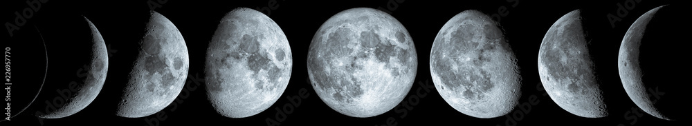 Fototapety, obrazy: Phases of the Moon: waxing crescent, first quarter, waxing gibbous, full moon, waning gibbous, third guarter, waning crescent, and new moon. The elements of this image furnished by NASA.