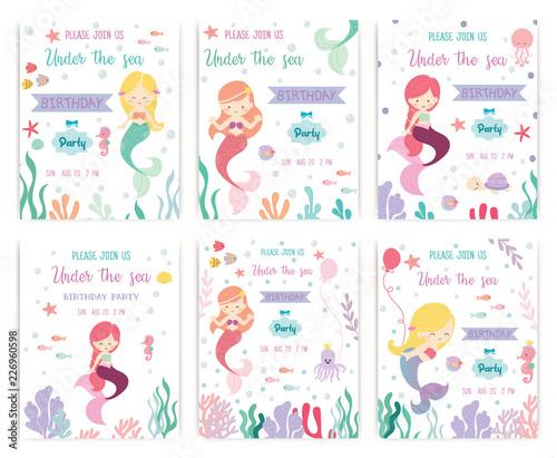 Photographie  Set of cute mermaid theme birthday party invitation card vector illustration