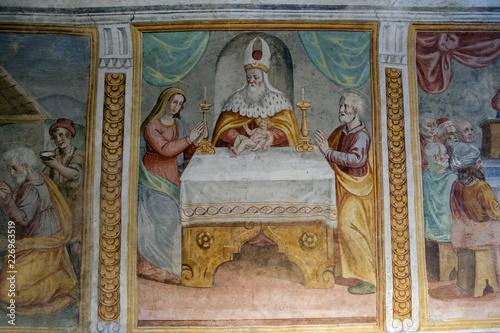Fényképezés Frescos and murals in a chapel.