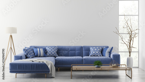 Interior of modern living room with sofa 3d rendering Tableau sur Toile