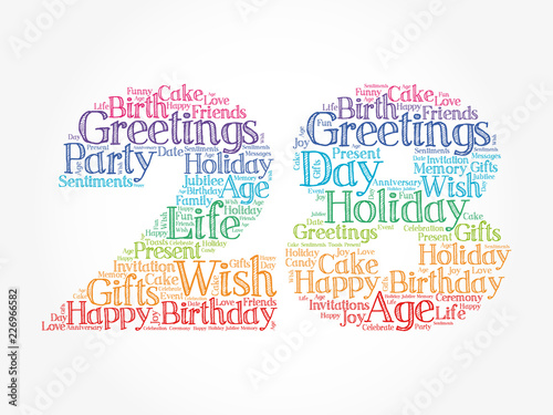 Fotografia  Happy 28th birthday word cloud collage concept
