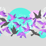 Artistic watercolor background: flying bird silhouettes, fluid shapes filled with minimal, grunge, doodle textures. - 226966998