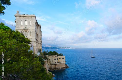 Beautiful view of Oceanographic Museum Cousteau, Monaco-Ville, Principality of Monaco
