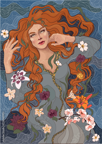 vector beautiful red-haired girl in an old-fashioned dress, waves of the river, water, and flowers Wall mural