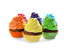 Delicious Colorful Cupcakes On White Background