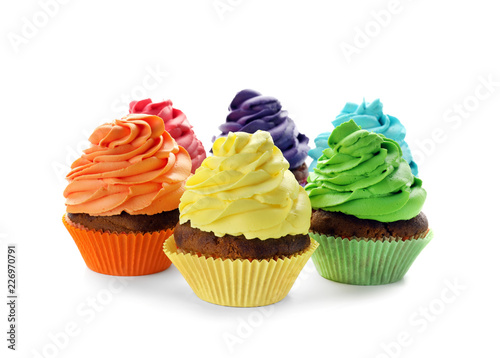 Photo  Delicious colorful cupcakes on white background