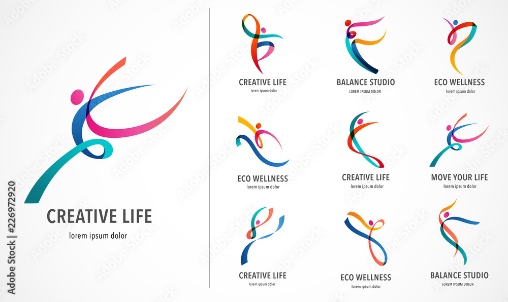 Fototapeta Abstract people logo design. Gym, fitness, running trainer vector colorful logo. Active Fitness, sport, dance web icon and symbol