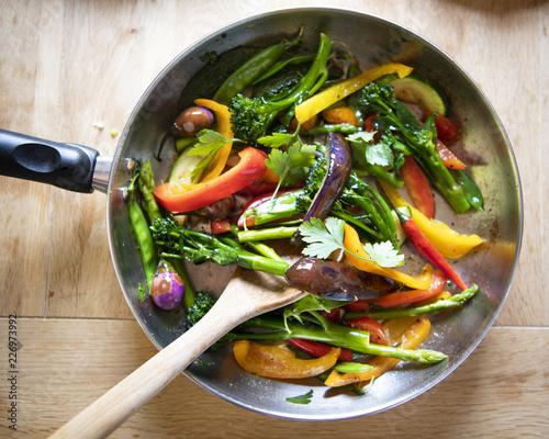 Valokuva  Sauted mixed vegetables food photography recipe idea