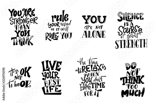 Photo sur Toile Positive Typography Vector lettering. Meditatin motivation quotes. Hand drawn calligraphic design