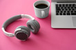 canvas print picture - Headphones with laptop and cup of coffee on color table