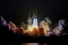 Spaceship Launch At Night, Landscape With Colorful Smoke Clouds And Galaxy Background. The Elements Of This Image Furnished By NASA.