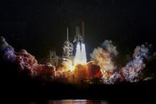 Spaceship Launch At Night, Lan...