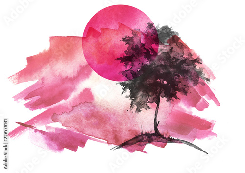 Spoed Foto op Canvas Candy roze Watercolor illustration, postcard. Tree silhouette, cherry, against the background of a sunset, red sun. Watercolor landscape. A tree on a hill, grass. Abstract splash of red, pink, violet paint.