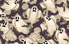 Halloween Seamless Pattern. Digital Pattern For Halloween Design Perfect For Decoration, Wrapping Papers, Greeting Cards, Web Page Background.
