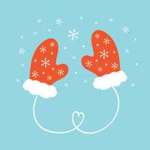 Cute Cartoon Vector Illustration With Couple Of Warm Mittens, Knitted Gloves And Snowflakes.
