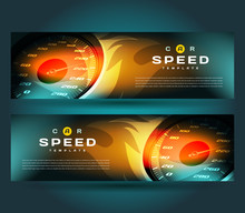 Banner Speed Action Hot Fast Flames Speedometer Car