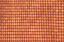 Roofing Texture. Red Corrugated Tile Element Of Roof. Seamless Pattern.