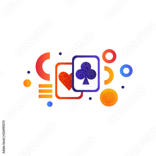 Spoed Foto op Canvas Verenigde Staten Playing cards, gambling element vector Illustration on a white background