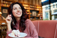 Pretty Woman Eat A Cake In A Cafe. Pleasure Time