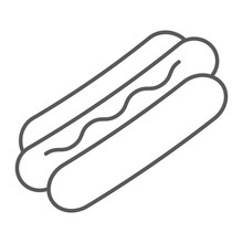 Hot Dog Thin Line Icon, Food And Meat, Fast Food Sign, Vector Graphics, A Linear Pattern On A White Background.